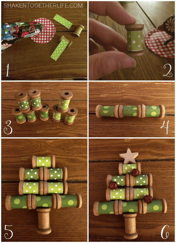 How to make a wooden spool Christmas tree ornament - step by step tutorial!