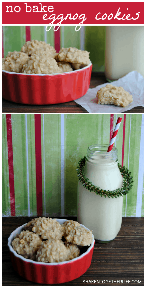 No Bake Eggnog Cookies are so easy to stir together and just taste like the holidays! These are a great addition to your cookie plates!