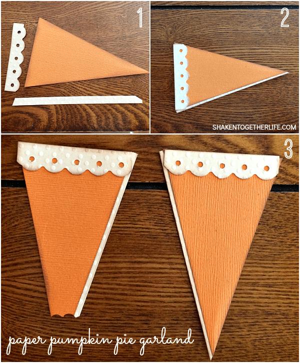 Make a paper pumpkin pie slice for a super cute paper pumpkin pie garland!