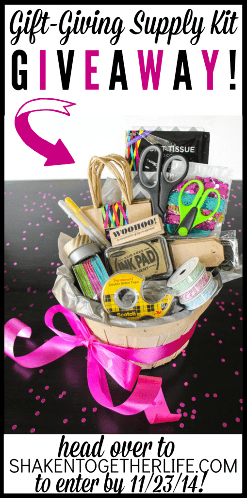 One lucky winner will receive this gift-giving supply kit AND a copy of Thinking Outside the Gift Box e-book + tons of extras!