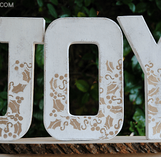 White & Gold JOY Stenciled Faux Wood Letters