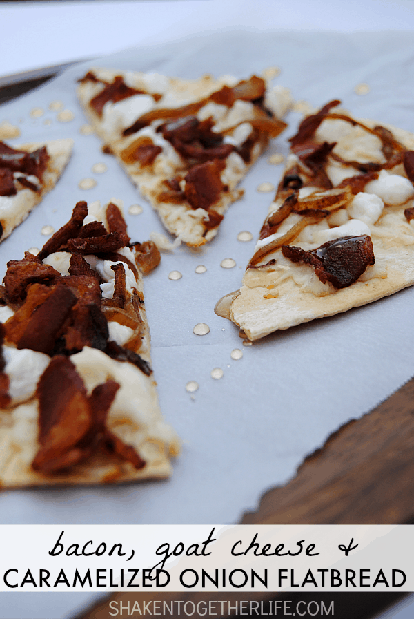 Bacon, Goat Cheese and Caramelized Onion Flatbread - awesome savory and sweet appetizer!