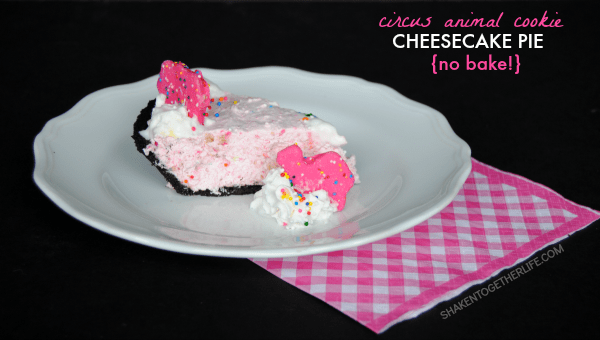 As if those pink and white cookies are not delicious enough on their own, they totally steal the show in this circus animal cookie cheesecake pie! Bonus? It's no bake!