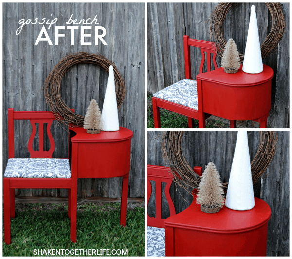 Gorgeous gossip bench makeover with Annie Sloan Chalk Paint - the glorious red after!
