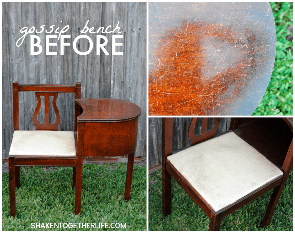 Gorgeous gossip bench makeover with Annie Sloan Chalk Paint - the poor, sad before!