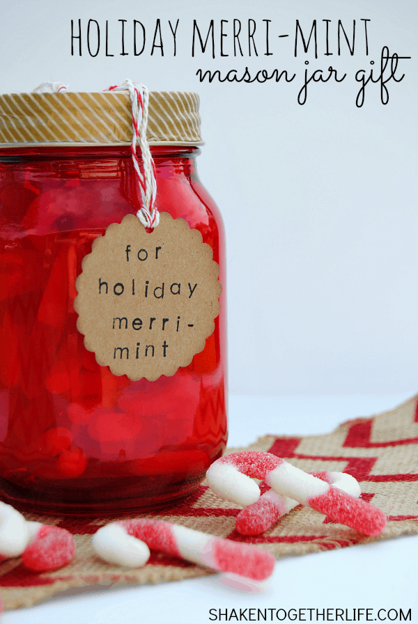 Holiday Merri-mint Mason Jar Gift - fill a mason jar with your favorite mint candy, add a few crafty embellishments and this easy inexpensive gift is ready to give!