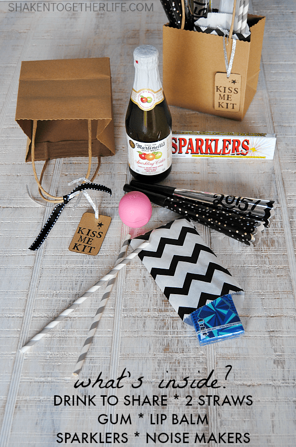 Kiss Me Kits for New Years Eve! Fill a bag or basket with everything for the perfect kiss at Midnight!
