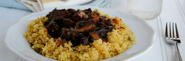 Portobello Mushroom Marsala - savory simmered portobellos over fluffy cous cous! From skillet to table in about 15 minutes! #CampbellSauces