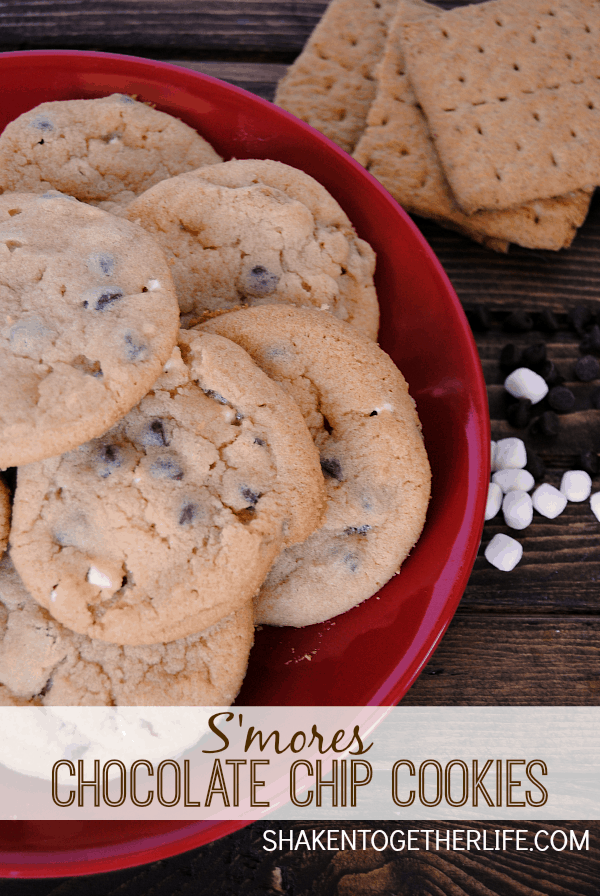 If s'mores and chocolate chip cookies had a baby, you would get these DELICIOUS buttery cookies full of s'mores goodness!