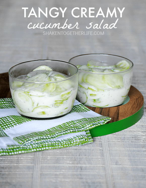 Tangy Creamy Cucumber Salad - just like my grandma used to make and only 4 ingredients!