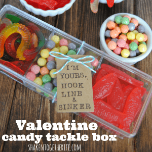 Valentine candy tackle box - great gift for guys!