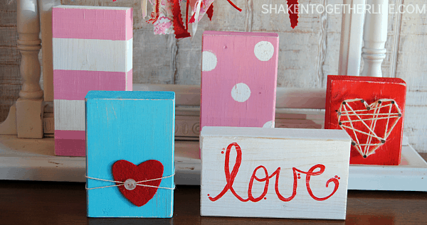 Valentine Wood Blocks are easy to make and SO fun and colorful!  Perfect for a mantel!