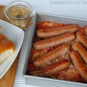 Baked Brats and Sauerkraut - an easy, comfort food dinner!