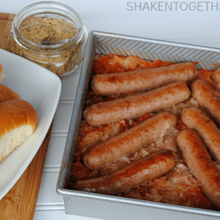 Baked Brats and Sauerkraut - an easy, comfort food dinner!