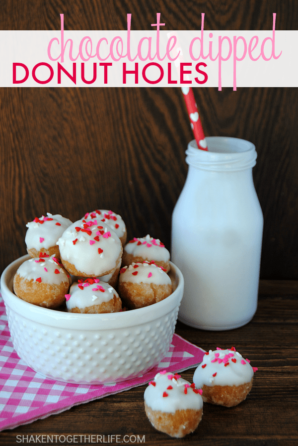 Chocolate Dipped Donut Holes - change the sprinkles for any season! Fun for a special breakfast treat!