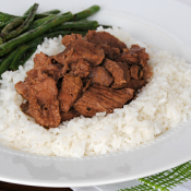 Easy Slow Cooker Garlic Beef Tips are a perfect easy dinner! Just 4 ingredients and a few hours in your slow cooker! #CampbellsSauces
