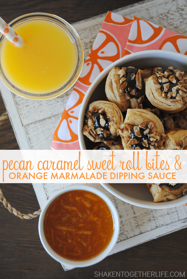 Pecan Caramel Sweet Roll Bites & Orange Marmalade Dipping Sauce - breakfast will never be the same again!