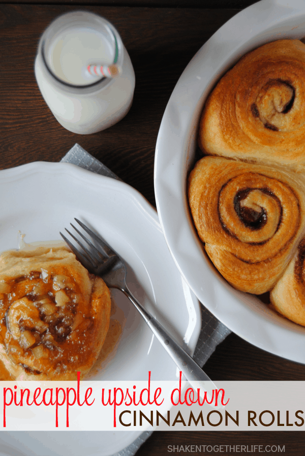 Pineapple Upside Down Cinnamon Rolls - add just 3 ingredients to refrigerated cinnamon rolls for a delicious, decadent breakfast!