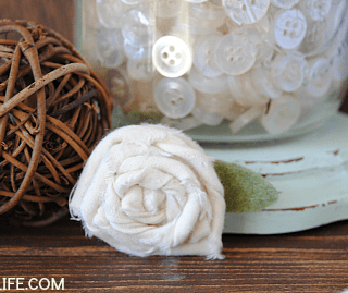 Easy Rolled Muslin Roses - a great way to use those fabric and felt scraps for pretty, rustic decor!