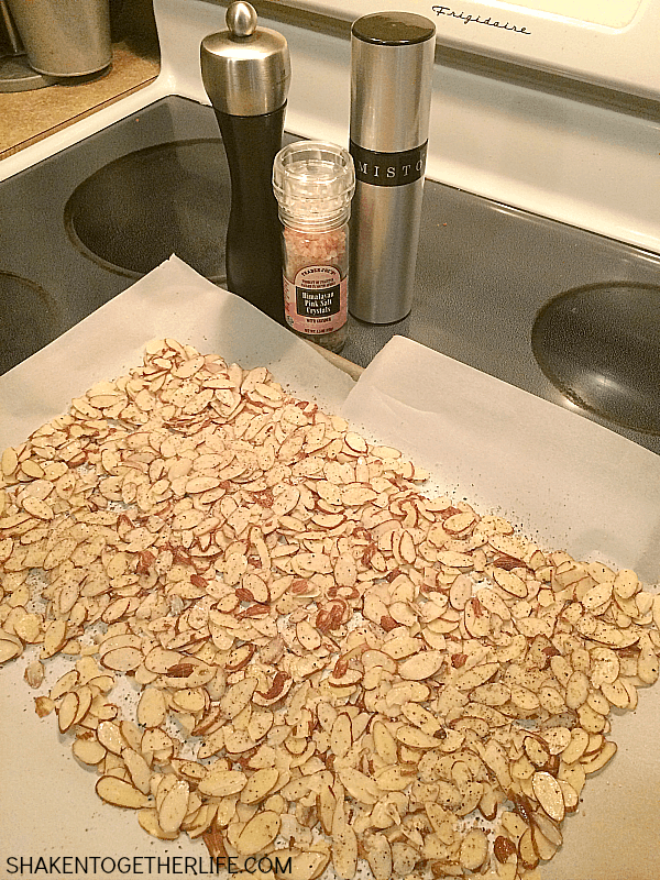 Toasted Salt & Pepper Almonds are the perfect crunchy topping for salads and snacks!