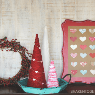 Raid your scrapbook paper stash, grab a heart shaped punch and make this Easy Valentine Heart Specimen Art! Perfect to add to your Valentine mantel or vignette!