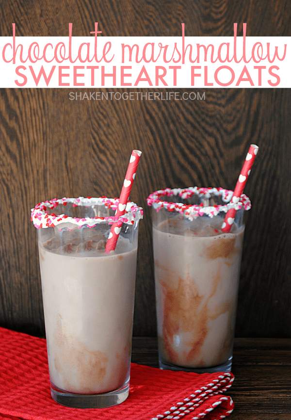 Chocolate Marshmallow Sweetheart Floats - a fun, festive treat for your sweethearts!