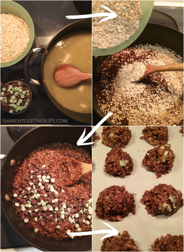 These Mint Chocolate No Bake Cookies are cooked stove top and dropped on parchment into soft delicious two bites cookies full of mint chocolate goodness!