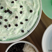Pistachio fluff is a light dessert that is perfect for Spring! Pistachio flavored fluff is combined with coconut & mini chocolate chips for a no bake treat!