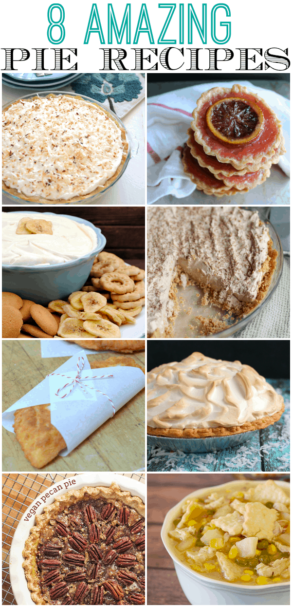 You will LOVE these 8 amazing pie recipes for Pi Day and everyday!  Banana Cream Pie Dip, vegan options, soup and more!
