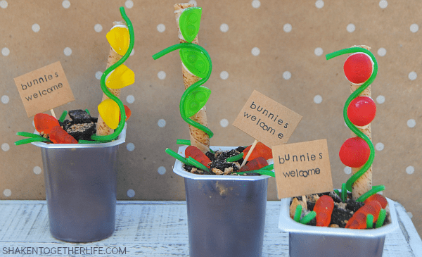 Spring Garden Pudding Cups - a mini edible garden that is perfect for Spring! Bunnies welcome!