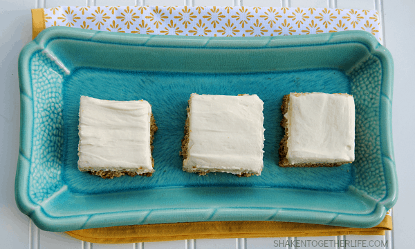 Banana Sugar Cookie Bars - soft, thick banana cookie bars topped with cream cheese frosting!