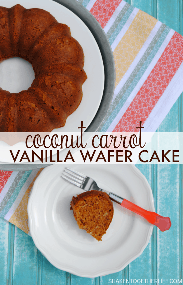 Coconut Carrot Vanilla Wafer Cake - this moist cake is full of coconut, carrots, ground pecans and vanilla wafers in place of flour! It is SO delicious!