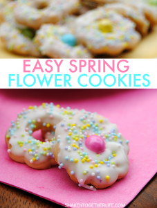 These pretty sprinkled Spring Flower Cookies are no bake and SO easy! This is a delicious no bake dessert that the kids will love to help to make (and eat)!