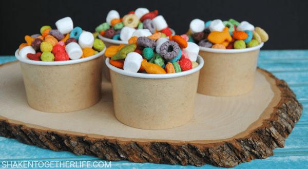 Easy Rainbow Snack Mix Shaken Together