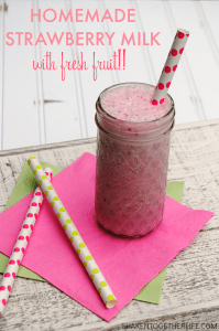 Homemade Strawberry Milk - no artificial flavors or additives, just tons of fresh fruit flavor!