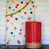 Inspired by our new bedding, I made this bright and colorful polka dot wood sign for our bedroom! You can easily change the colors to match your decor!