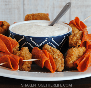 Pepperoni Chicken Bites with Creamy Italian Dipping Sauce
