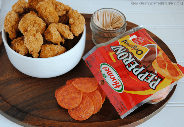 Pepperoni Chicken Bites with Creamy Italian Dipping Sauce - this is one of our favorite easy appetizers!