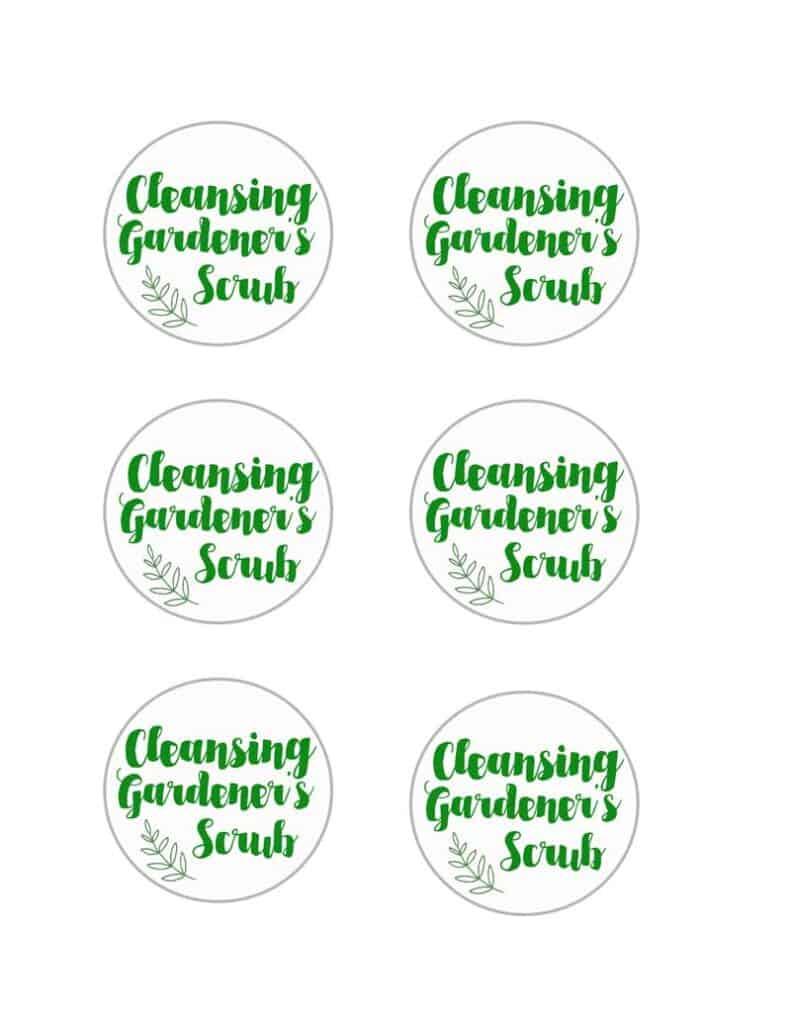 2 ingredient gardener's hand scrub printable labels