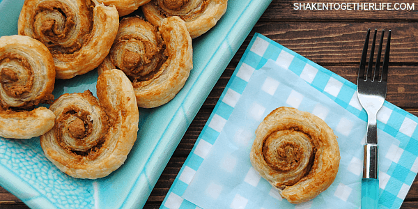 Cookie Butter Pinwheels!  Just 2 ingredients and an egg wash make this decadent pastries a must make for breakfast or brunch!