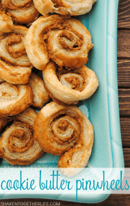Cookie Butter Pinwheels! Just 2 ingredients and an egg wash mean these decadent pastries are a must make for breakfast or brunch!