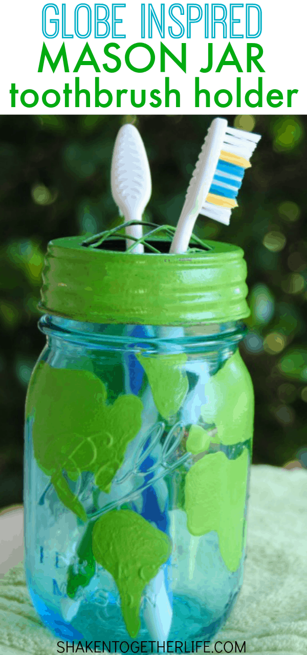 We made a globe inspired mason jar tooth brush holder to celebrate Earth Day!  And we picked up new Tom's of Maine toothpaste to use with it!