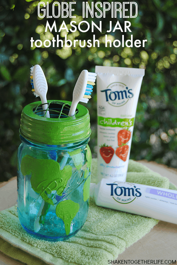 As a gentle reminder to be mindful of bathroom habits for Earth Day, we made a Globe Inspired Mason Jar Toothbrush Holder!