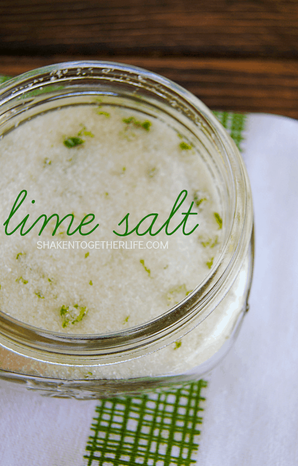 Make your own lime salt with just 3 ingredients! Perfect for margaritas, homemade tortilla chips, on a baked potato, sprinkled on roasted vegetables and more!