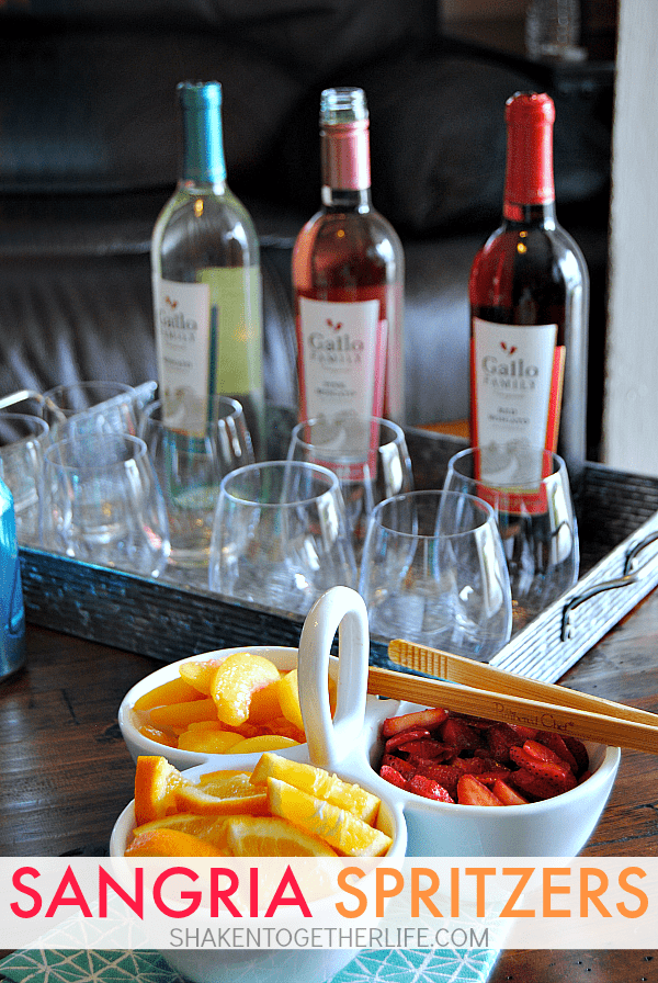Sangria Spritzers and a DIY spa day made for a perfect afternoon! That Sangria Spritzer bar with Gallo Moscatos looks SO fun!