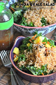 Quinoa Kale Salad with Honey Ginger Dressing