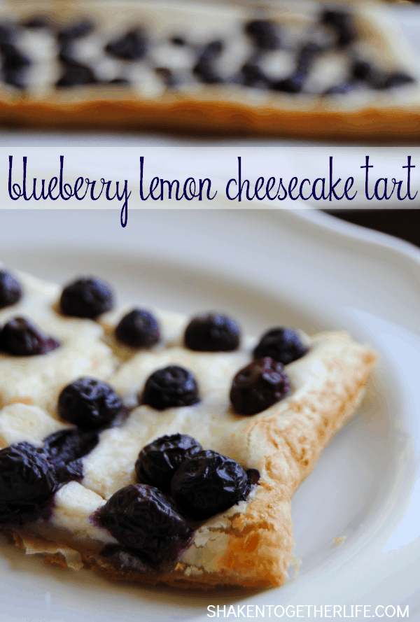 This Blueberry Lemon Cheesecake Tart is SO delicious! Golden flaky puff pastry is topped with a lemon cheesecake filling and fresh blueberries!