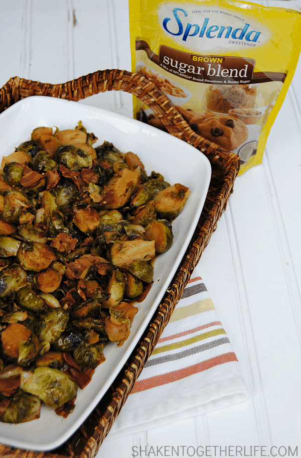 Brown Sugar Bacon Brussel Sprouts - fresh brussel sprouts simmer in bacon and garlic, drizzled with lemon juice and then glazed in a brown sugar soy sauce.  This dish will change the way you think about brussel sprouts! #SplendaSweeties #SweetSwaps