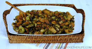Brown Sugar Bacon Brussels Sprouts - fresh brussels sprouts simmer in bacon and garlic, drizzled with lemon juice and then glazed in a brown sugar soy sauce. This dish will change the way you think about brussels sprouts! #SplendaSweeties #SweetSwaps