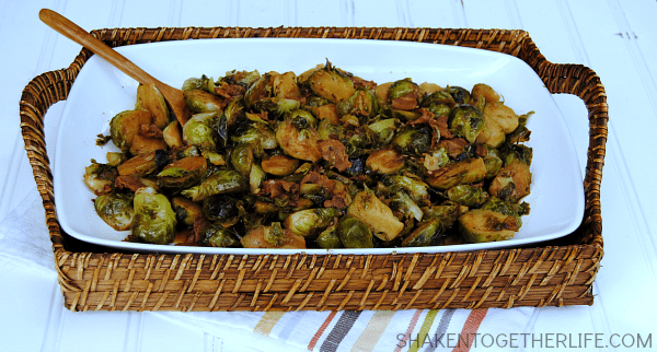 There are never any leftovers when I make these Brown Sugar Bacon Brussel Sprouts for a get together!